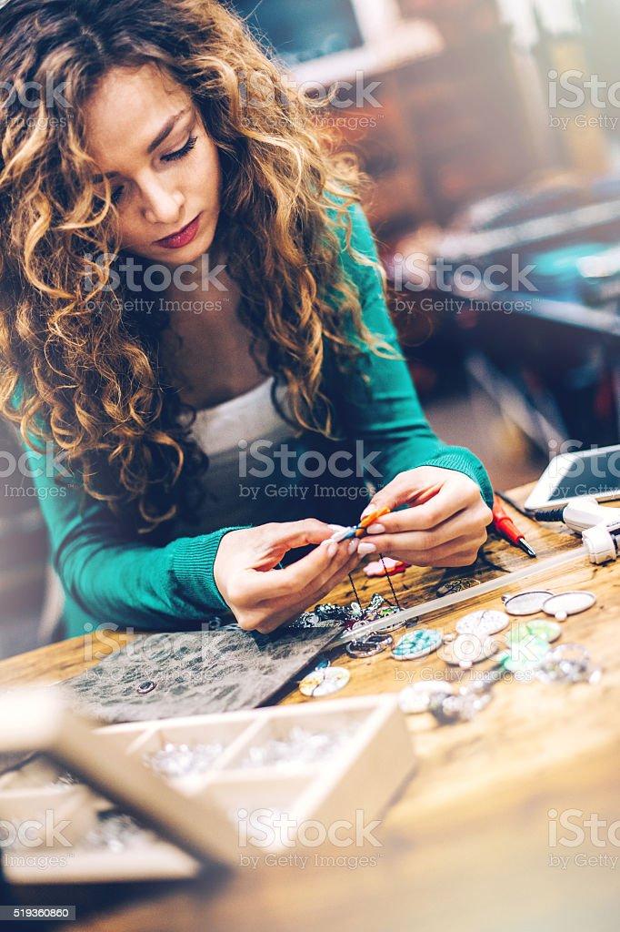 Beautiful crafty woman stock photo