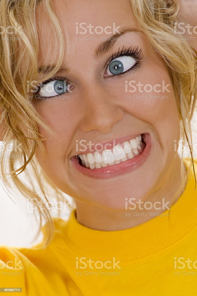 Beautiful Crazy Mad Blond Woman stock photo