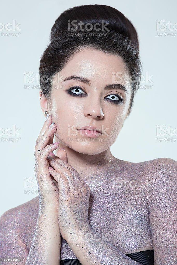 Beautiful Creative Fashion Makeup stock photo