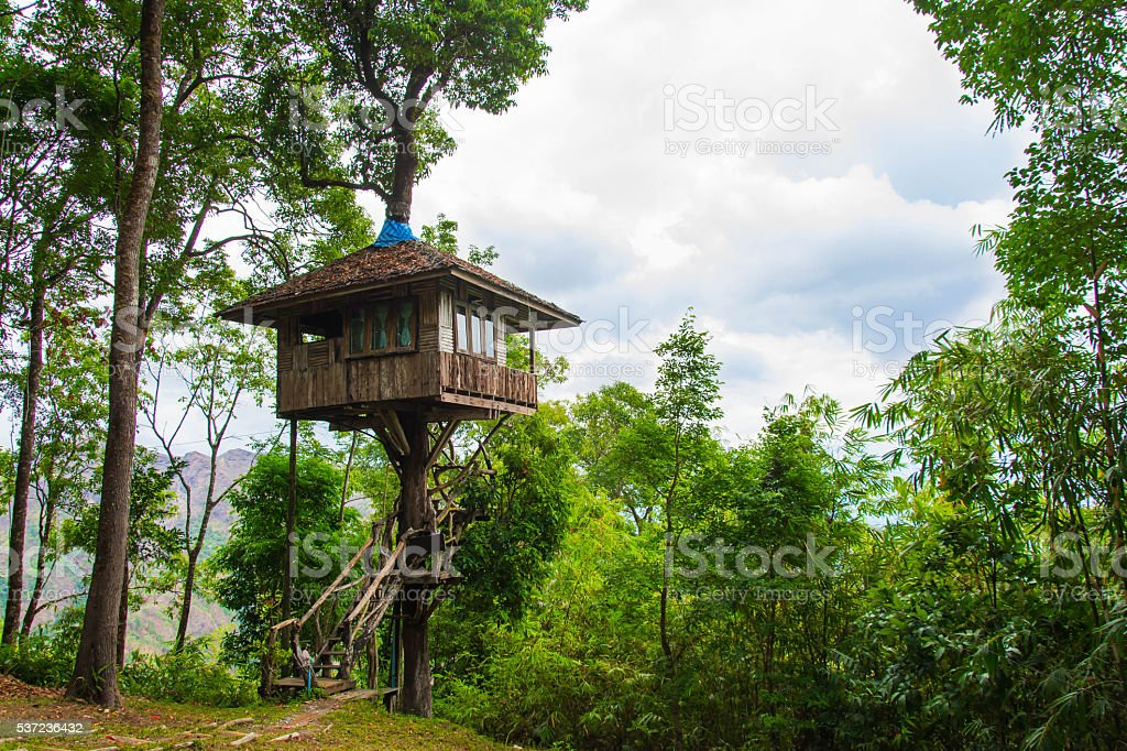 Beautiful creative handmade tree house stock photo