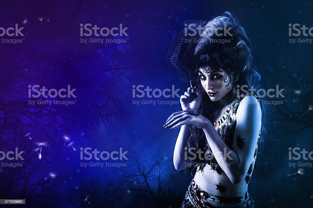 Beautiful Creepy Fantasy Woman in the Woods stock photo