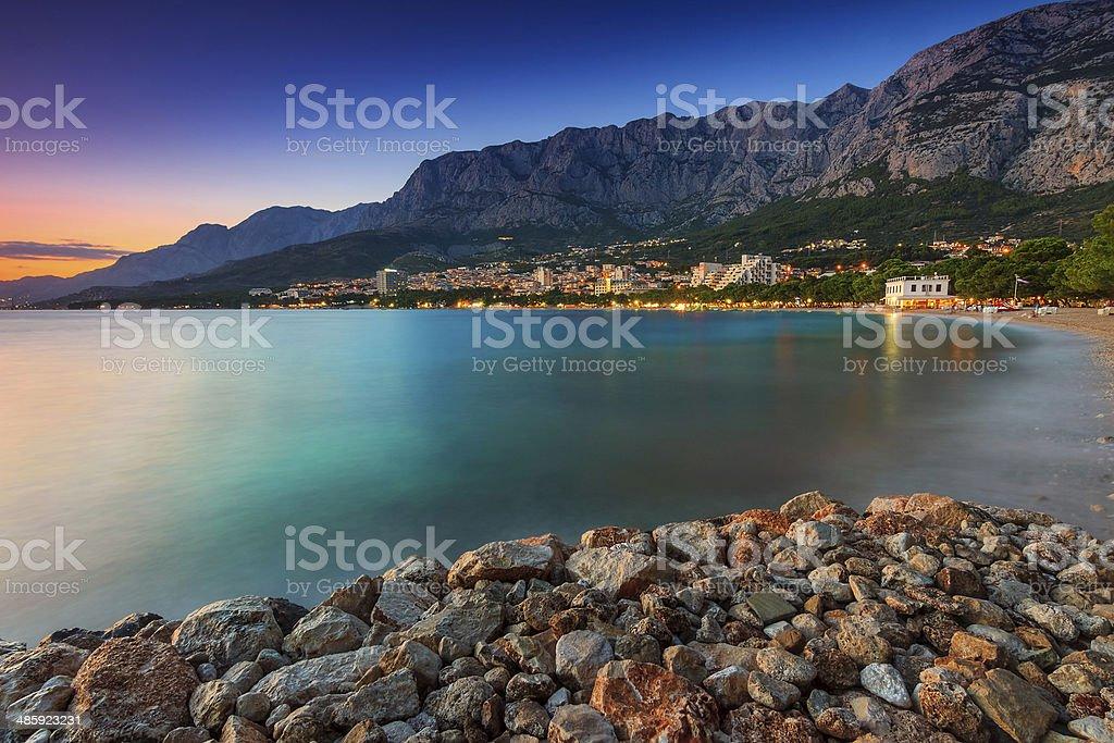 Beautiful Croatian resort at sunset,Makarska,Dalmatia,Europe royalty-free stock photo