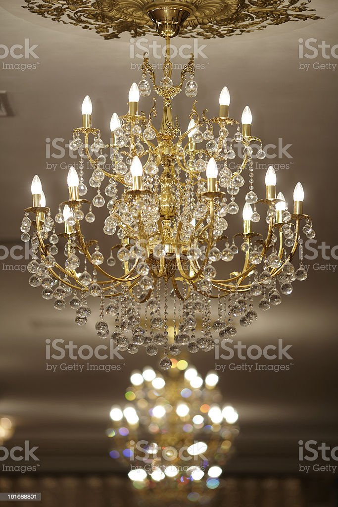 beautiful crystal chandelier in a room royalty-free stock photo