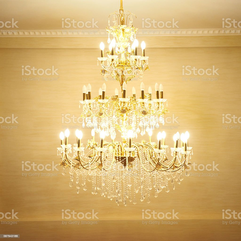 Beautiful crystal chandelier stock photo