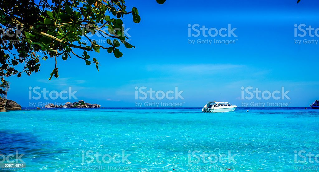 Beautiful crystal clear blue sea stock photo