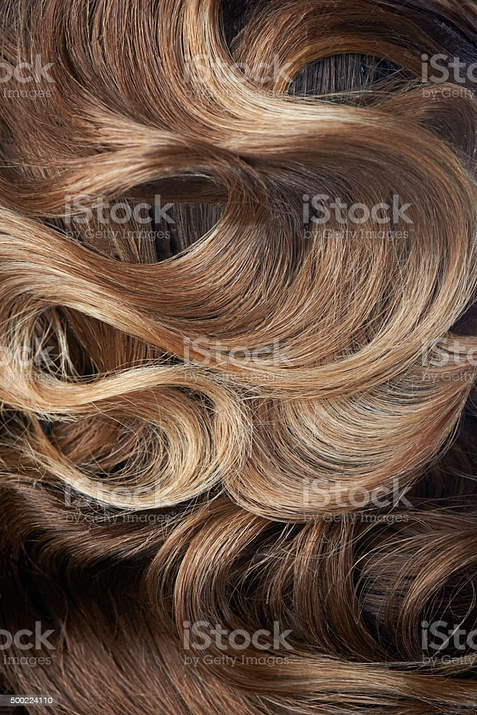 Beautiful curl hairstyle of brown hair stock photo