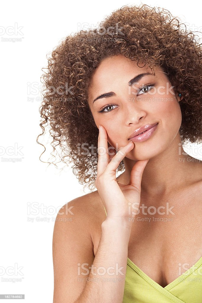 beautiful curly african girl smile hand on face isolated white stock photo