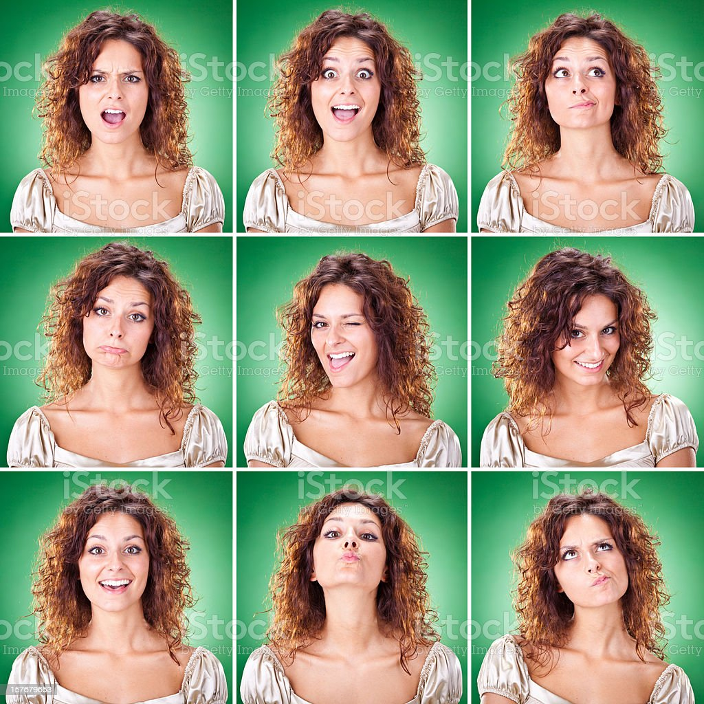 beautiful curly hair brunette girl emotion square set on green royalty-free stock photo