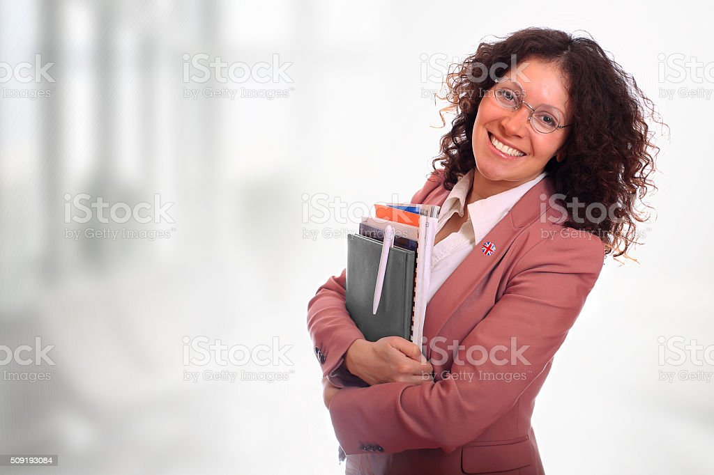Beautiful curly young woman stock photo