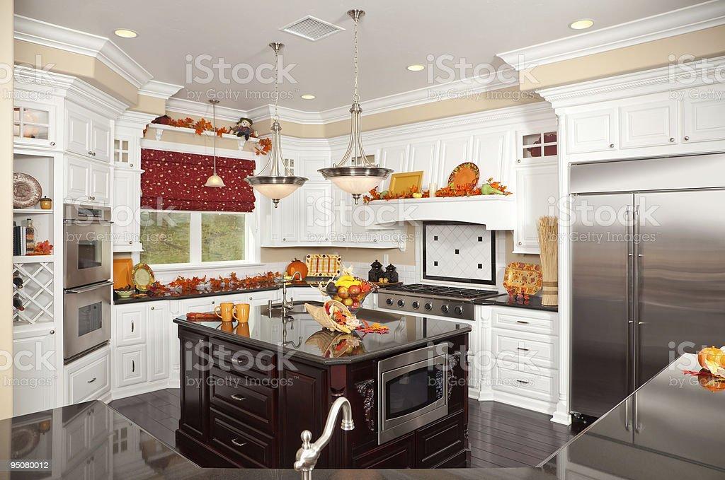 Beautiful Custom Designer Kitchen Interior royalty-free stock photo