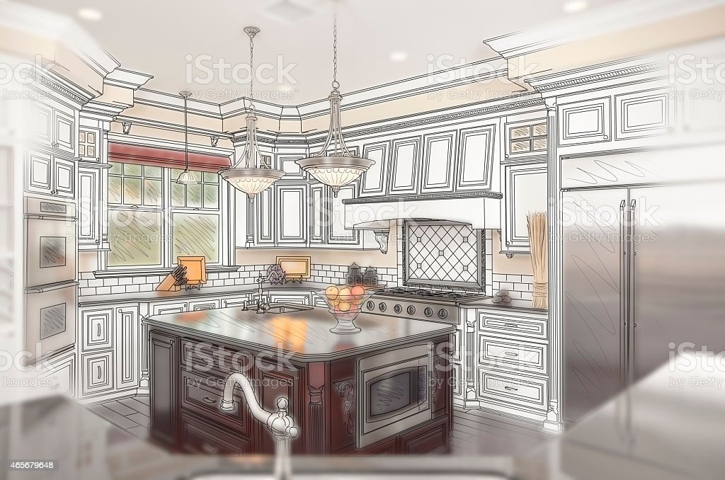 Beautiful Custom Kitchen Design Drawing with Ghosted Photo Behin stock photo