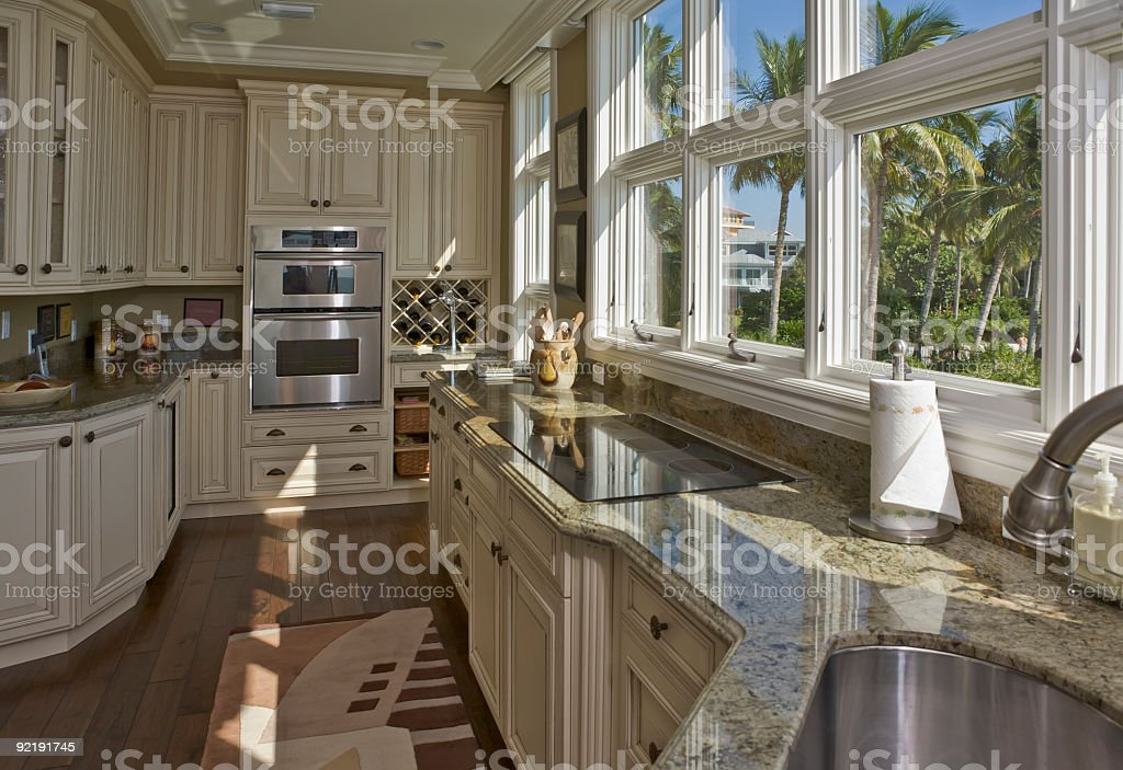 Beautiful Custom Kitchen With View of Palm Trees stock photo