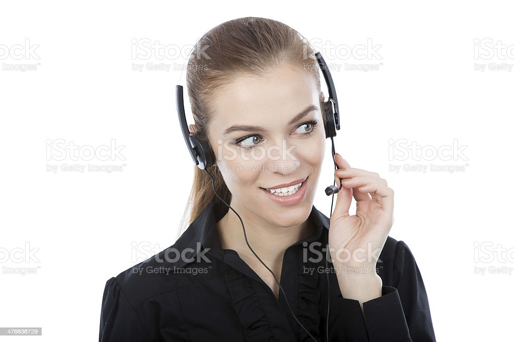 Beautiful customer service worker looking at her right side royalty-free stock photo