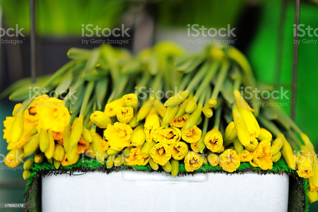 Beautiful cut flowers sold on outdoor flower shop stock photo