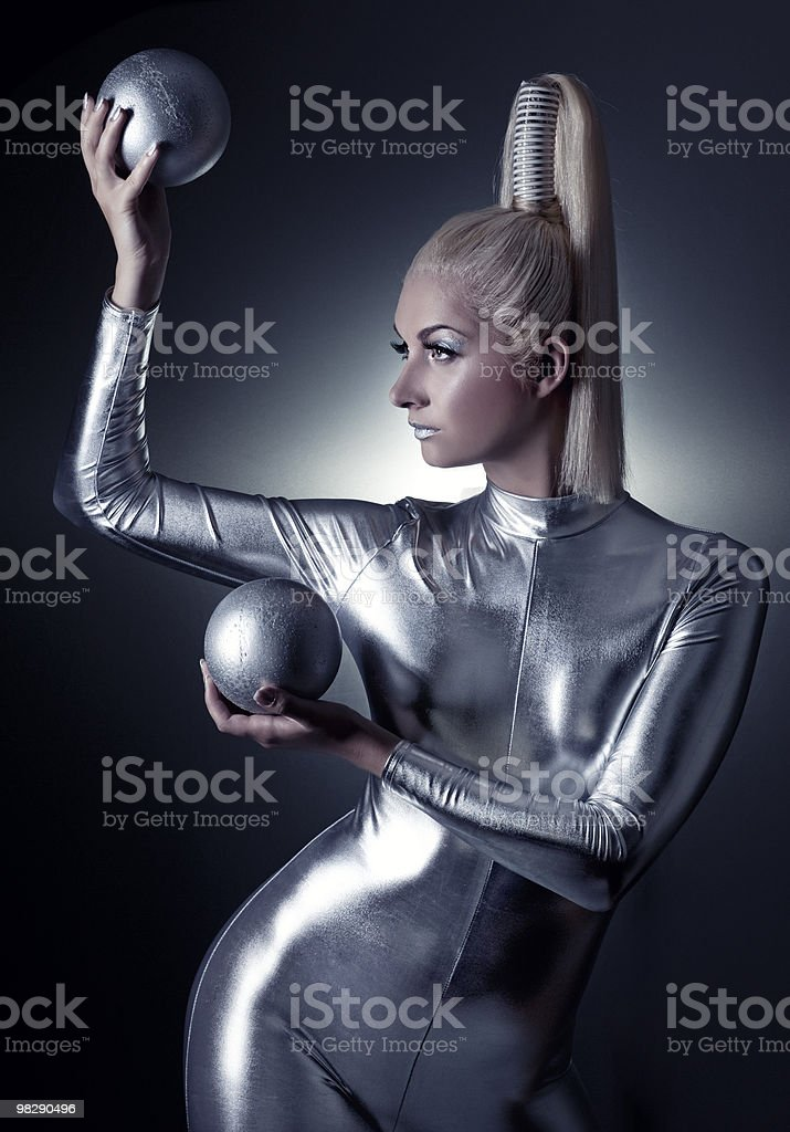 Beautiful cyber woman with silver balls royalty-free stock photo