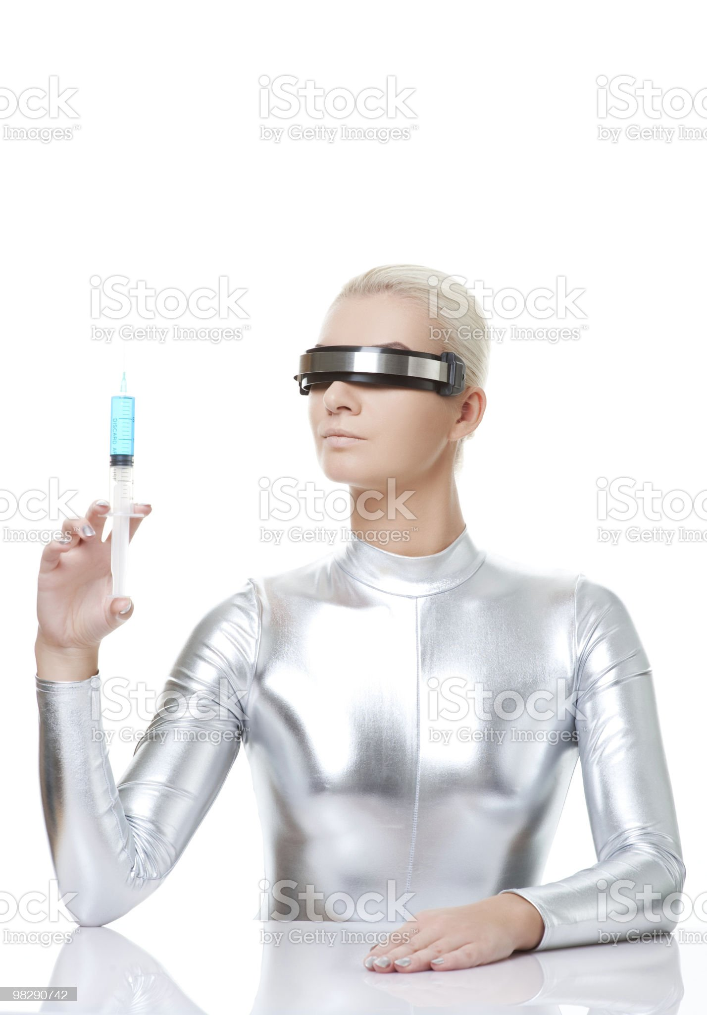Beautiful cyber woman with syringe royalty-free stock photo