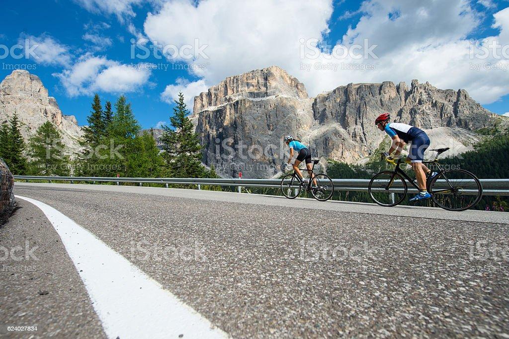 Beautiful cycling tour on a pass stock photo