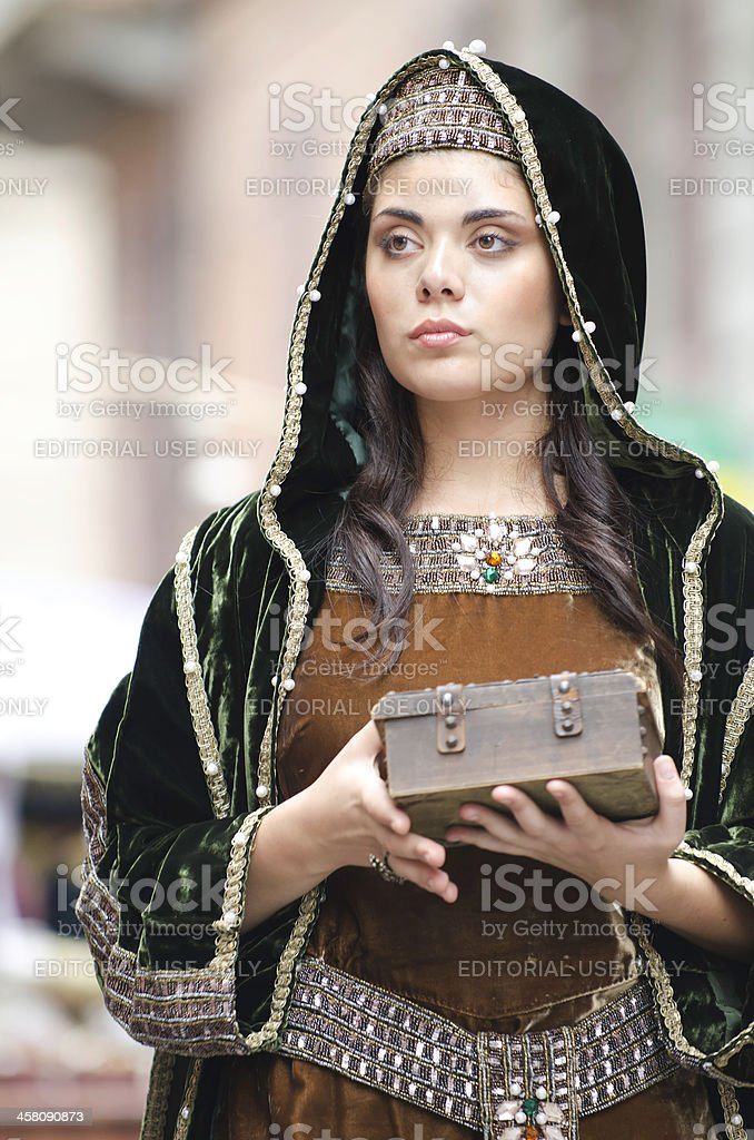 Beautiful damadel Middle Ages  at the Palio royalty-free stock photo