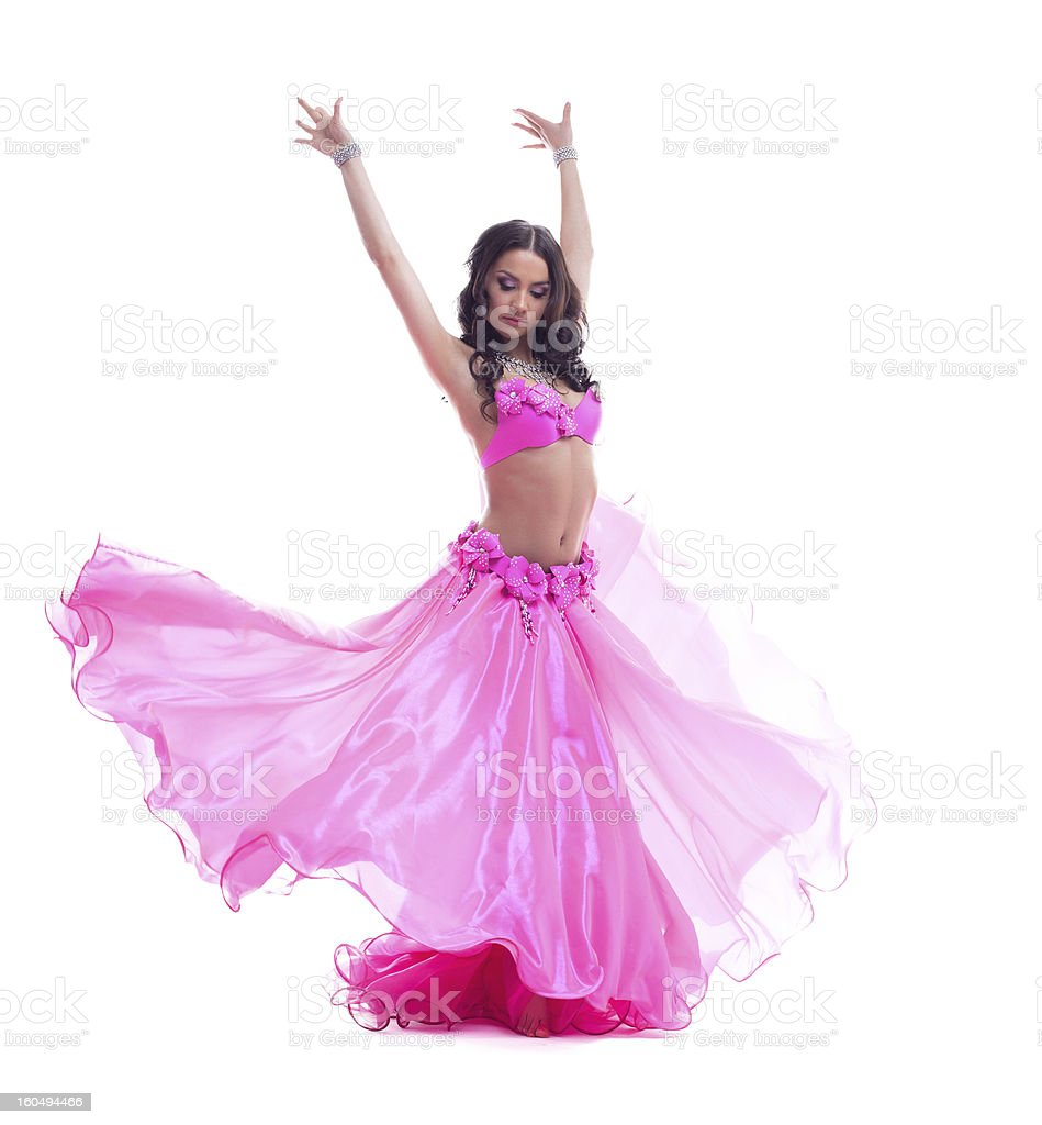 Beautiful dancer in pink costume - oriental dance royalty-free stock photo