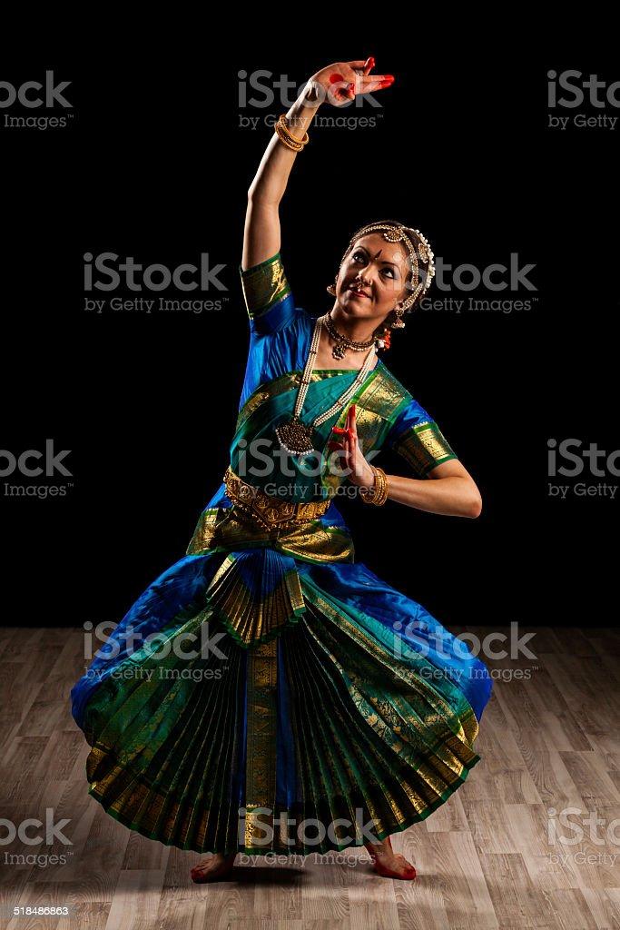 Beautiful dancer of Indian dance Bharatanatyam stock photo