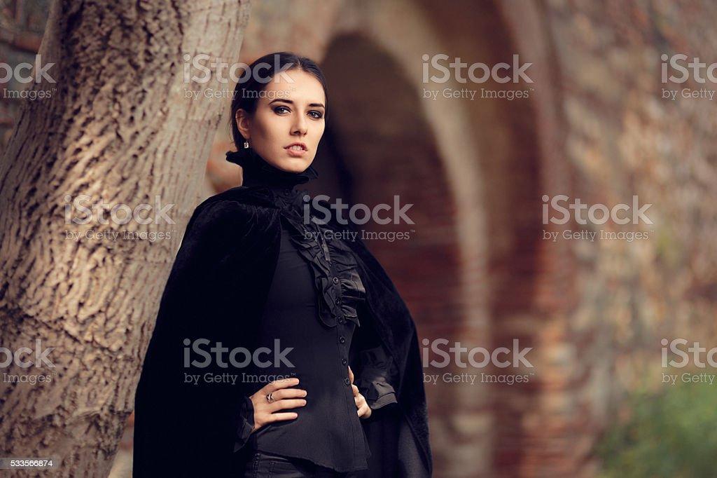 Beautiful Dark Princess at the Castle stock photo