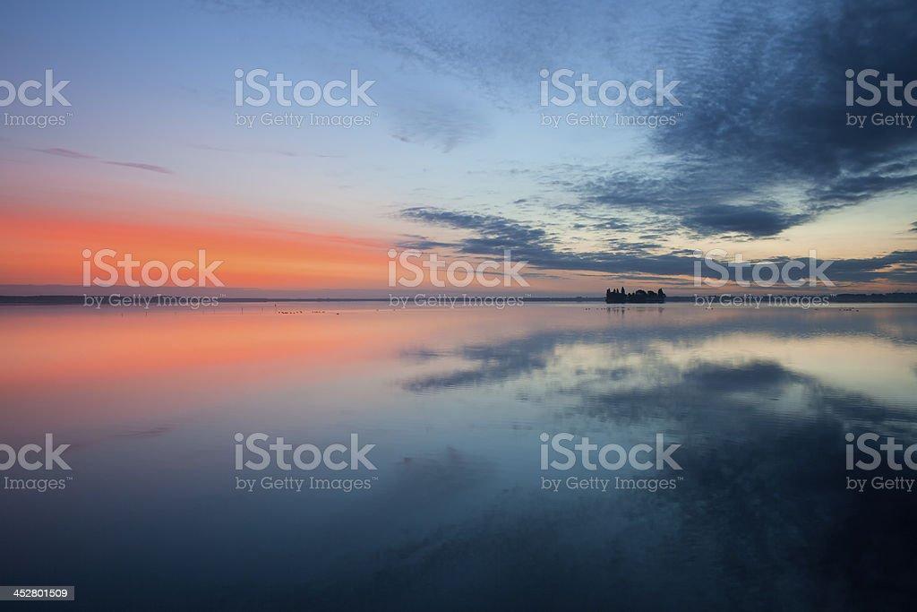 Beautiful dawn at lake stock photo