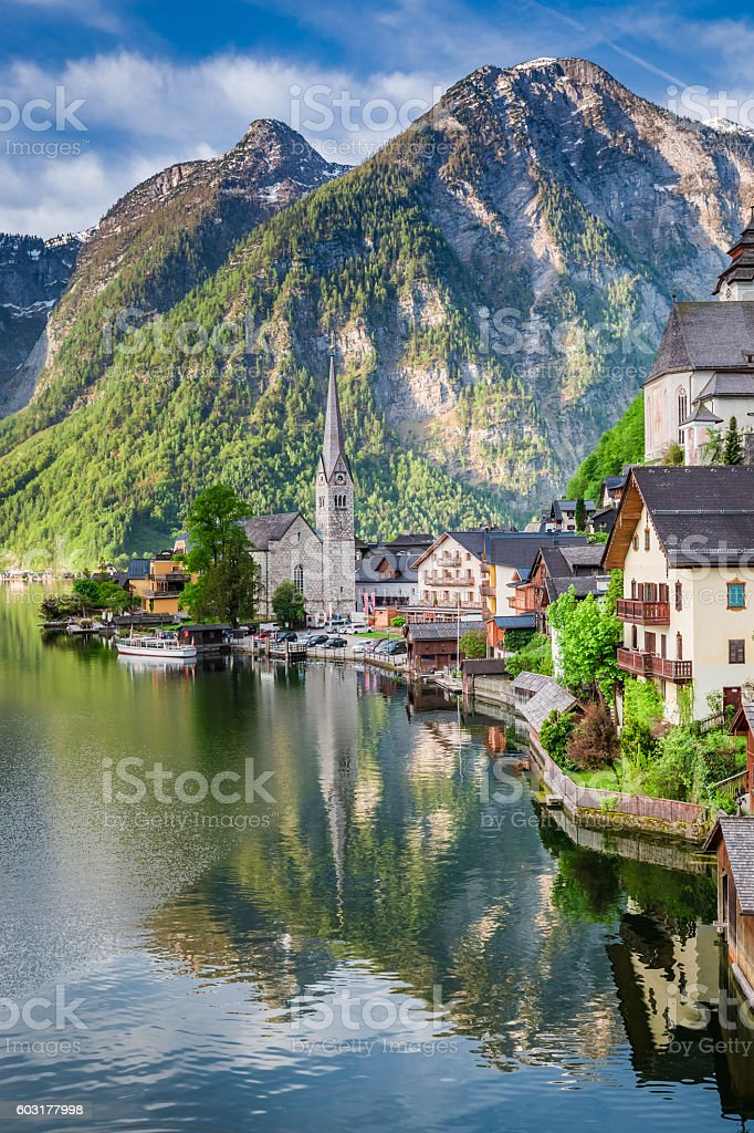 Beautiful dawn at mountain lake in Hallstatt, Alps, Austria stock photo