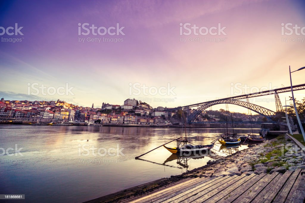 Beautiful dawn in Porto on Rio Douro, Portugal stock photo
