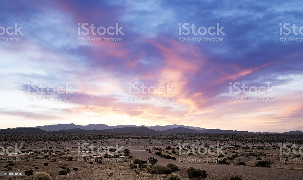 beautiful dawn on a desert landscape in southern california stock photo
