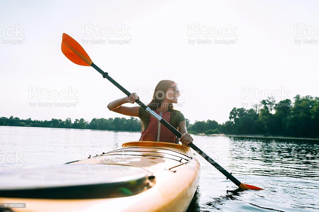 Beautiful day for kayaking. stock photo