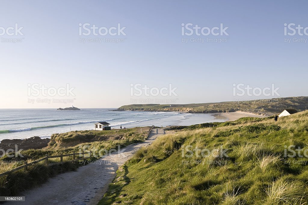 Beautiful day Gwithian beach on the north coast of Cornwall stock photo