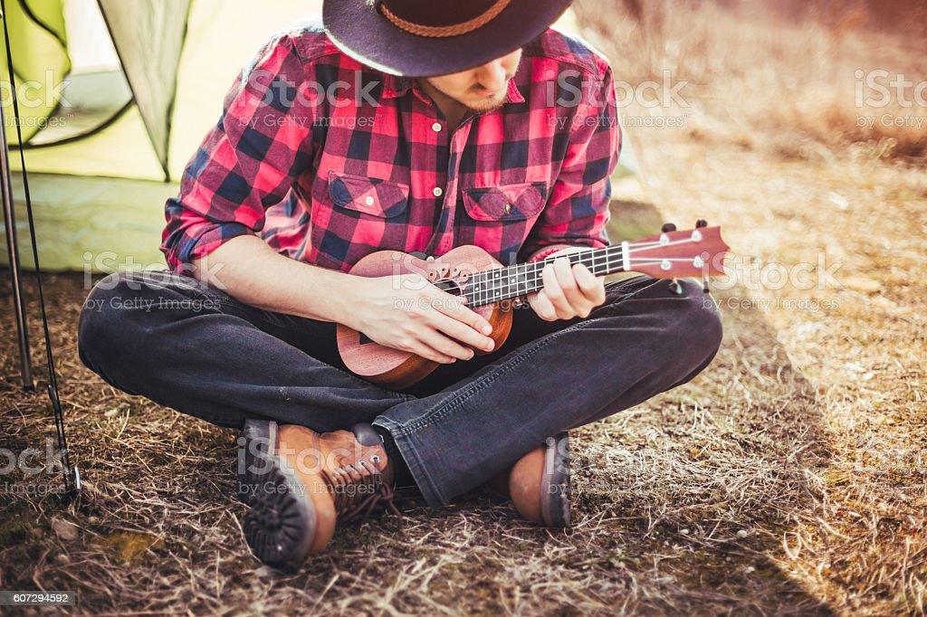 Beautiful day, nature and my ukulele. stock photo
