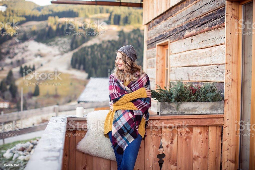 Beautiful day on mountain stock photo