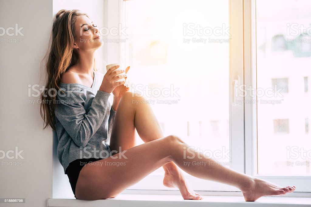 Beautiful daydreamer. stock photo