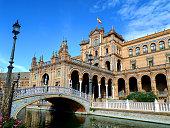 Beautiful Decorated Bridge and Stunning Architecture at Plaza de Espana