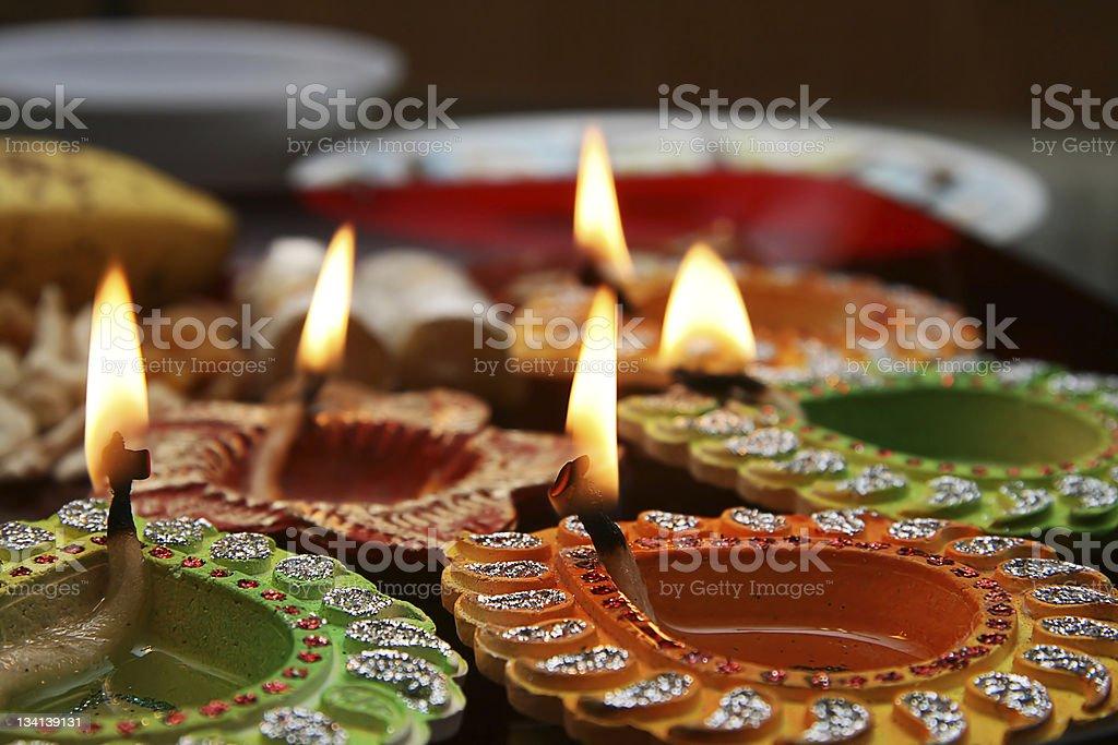 Beautiful Decorated Diwali Thali stock photo