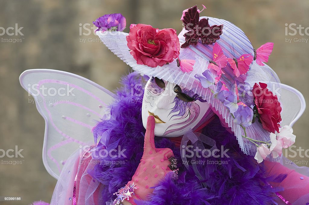 Beautiful decorated female mask at carnival in Venice royalty-free stock photo