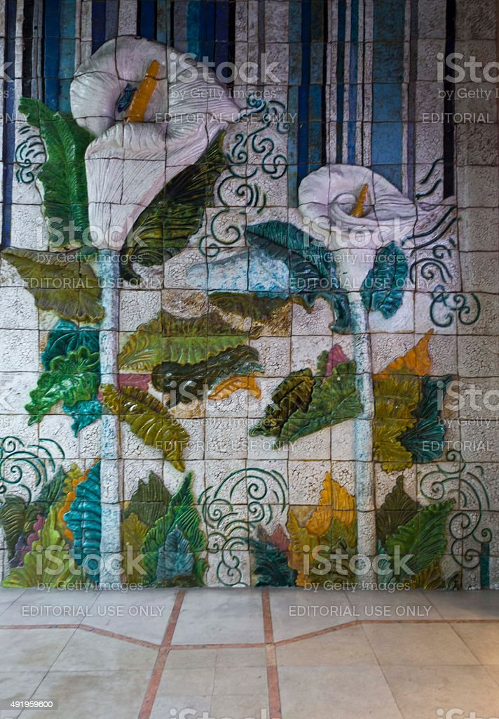 Beautiful decorated wall in Lisbon stock photo
