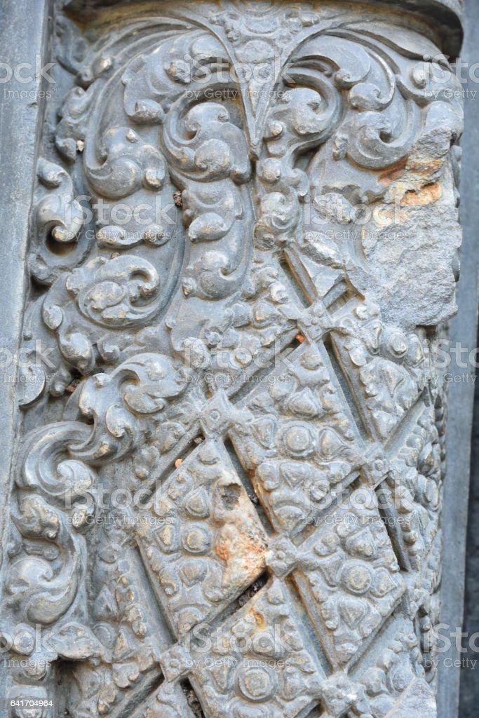 Beautiful decorations on the stone pillar stock photo