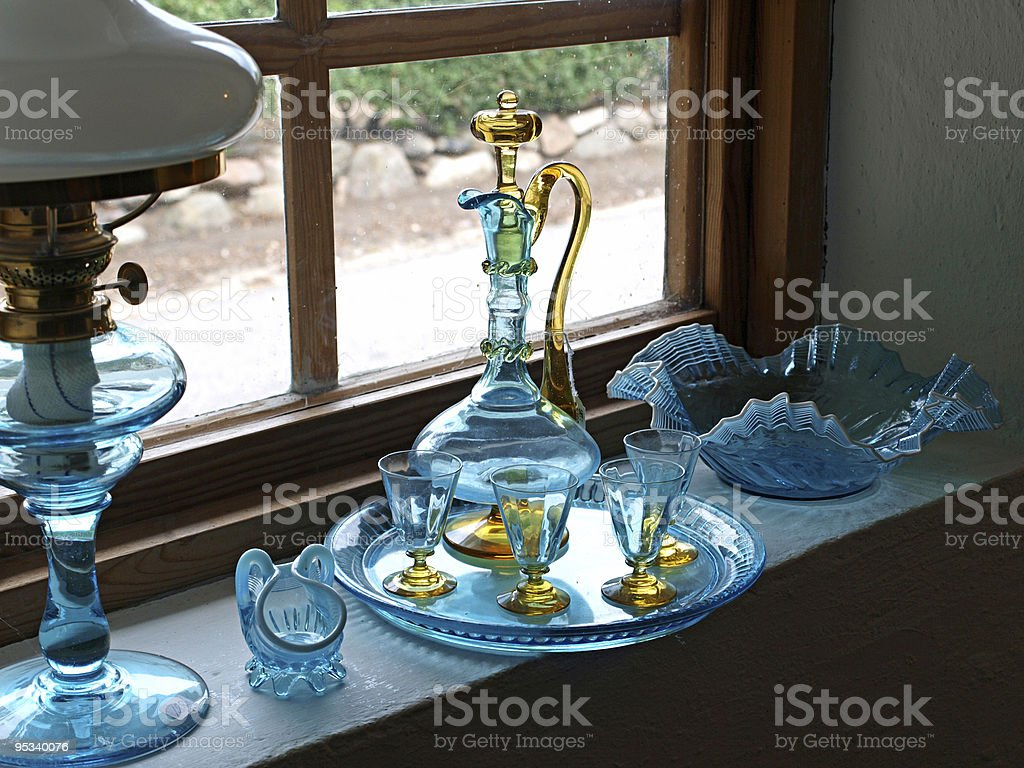 Beautiful decorative old glass items on display royalty-free stock photo