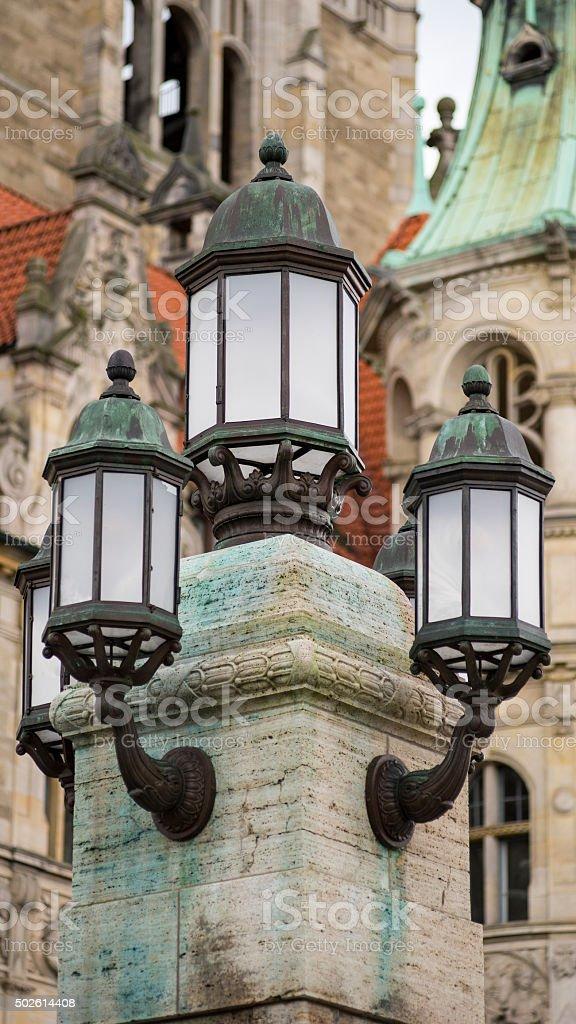 Beautiful decorative streetlight in Hannover stock photo