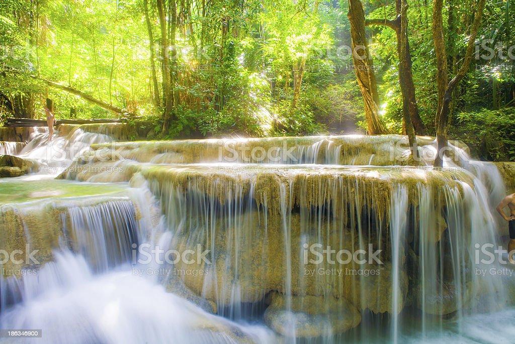 Beautiful Deep forest waterfall at Erawan National Park royalty-free stock photo