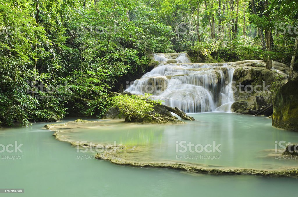 Beautiful deep forest waterfall royalty-free stock photo