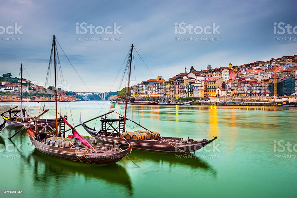 Beautiful depiction of boats at Porto Portugal stock photo