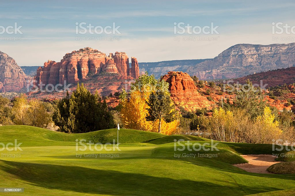 Beautiful Desert Golf Course in the United States Southwest stock photo