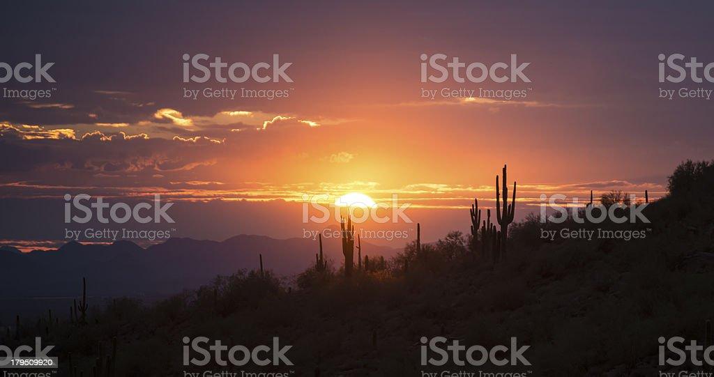 Beautiful Desert Hills Sunset stock photo