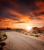 Beautiful Desert Road At Sunset