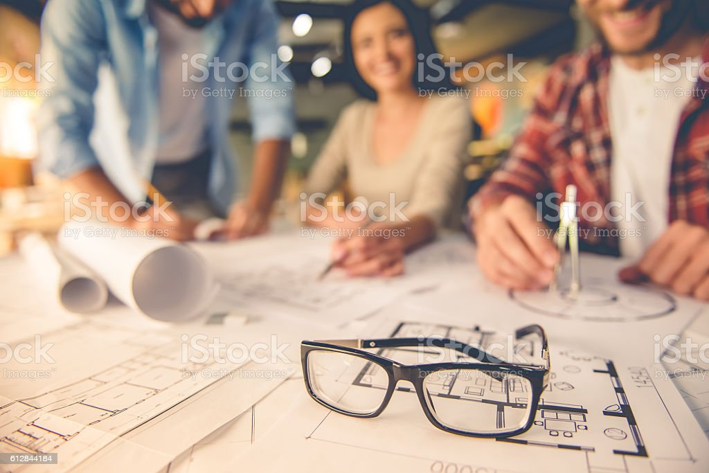 Beautiful designers working stock photo