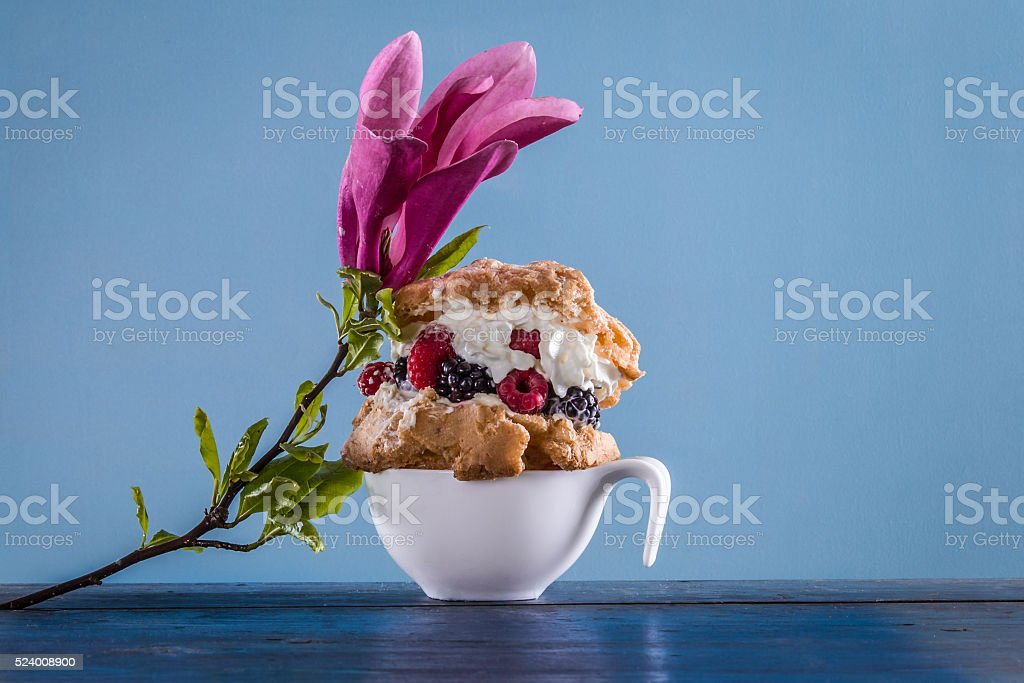 Beautiful dessert with magnolia and berrys stock photo