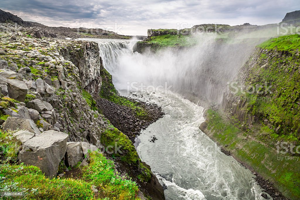 Beautiful Dettifoss waterfall in Iceland in summer stock photo